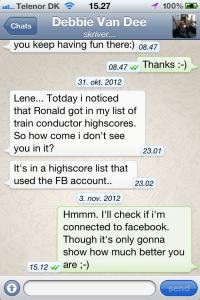 Screenshot af WhatsApp på iPhone
