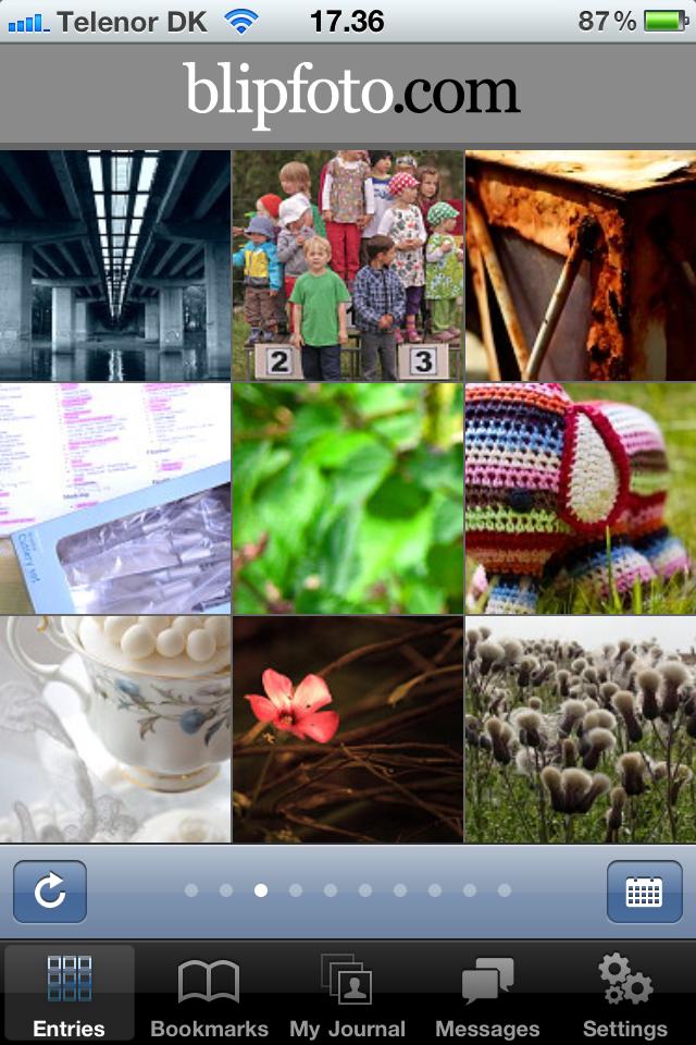 Screenshot af Blipfoto på iPhone