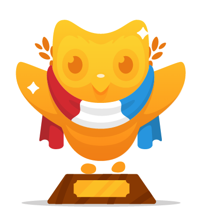 Trophy for finishing the Dutch course on Duolingo
